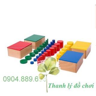 Bộ 4 hộp hình trụ không núm – Knobless cylinders – Giáo cụ montessori
