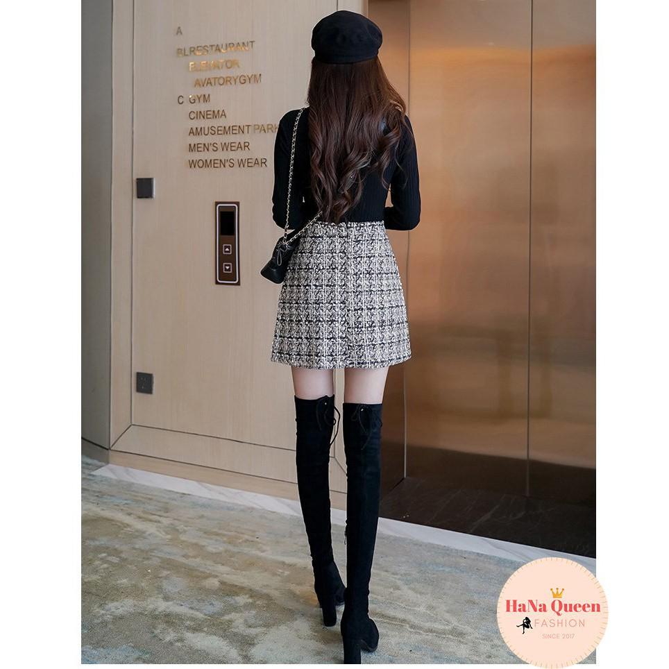 [Sẵn Hàng] Chân váy chữ A kẻ chất dạ loại đẹp