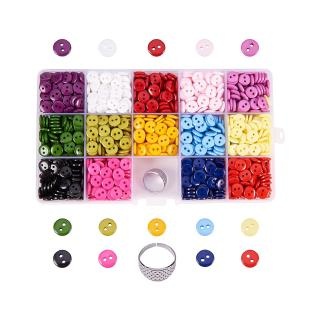 1 Box 2-Hole Flat Round Resin Sewing Buttons Sets Mixed Color for Sewing Crafts