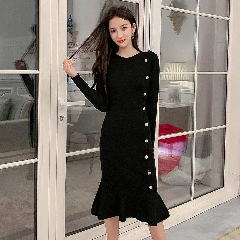 4601251740 - đầm nữ dài tay kiểu hàn quốc