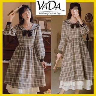 Đầm xòe caro tay dài, cổ nơ kiểu tiểu thư xinh yêu dễ thương, dự tiệc cưới đi chơi bao đẹp, hàng cao cấp tại VADA - V08 thumbnail