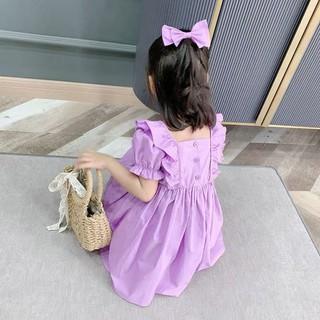 Váy công chúa bé gái mùa hè 2021 cô gái mới phong cách hàn quốc tay phồng màu tím