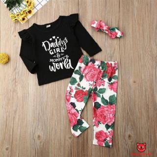 Bộ áo dài tay + quần dài in họa tiết hoa hồng thời trang cho bé từ 0-24 tháng