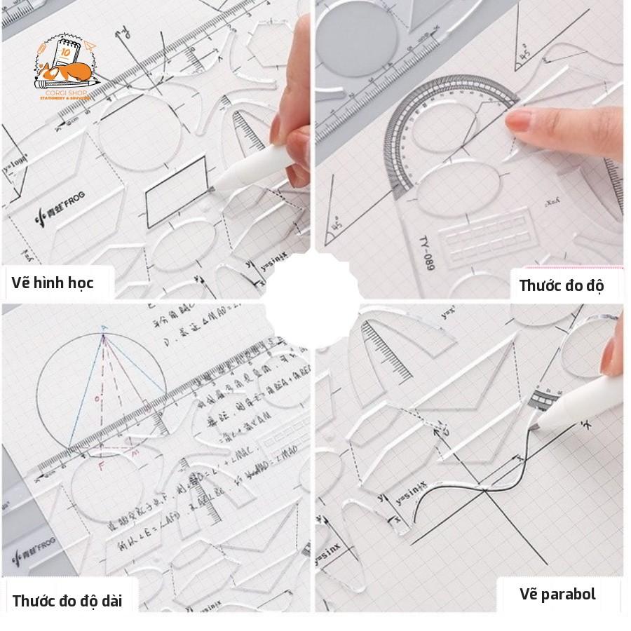 Thước nhựa trong vẽ kỹ thuật, hình học đa năng, dễ sử dụng tại Corgi Shop