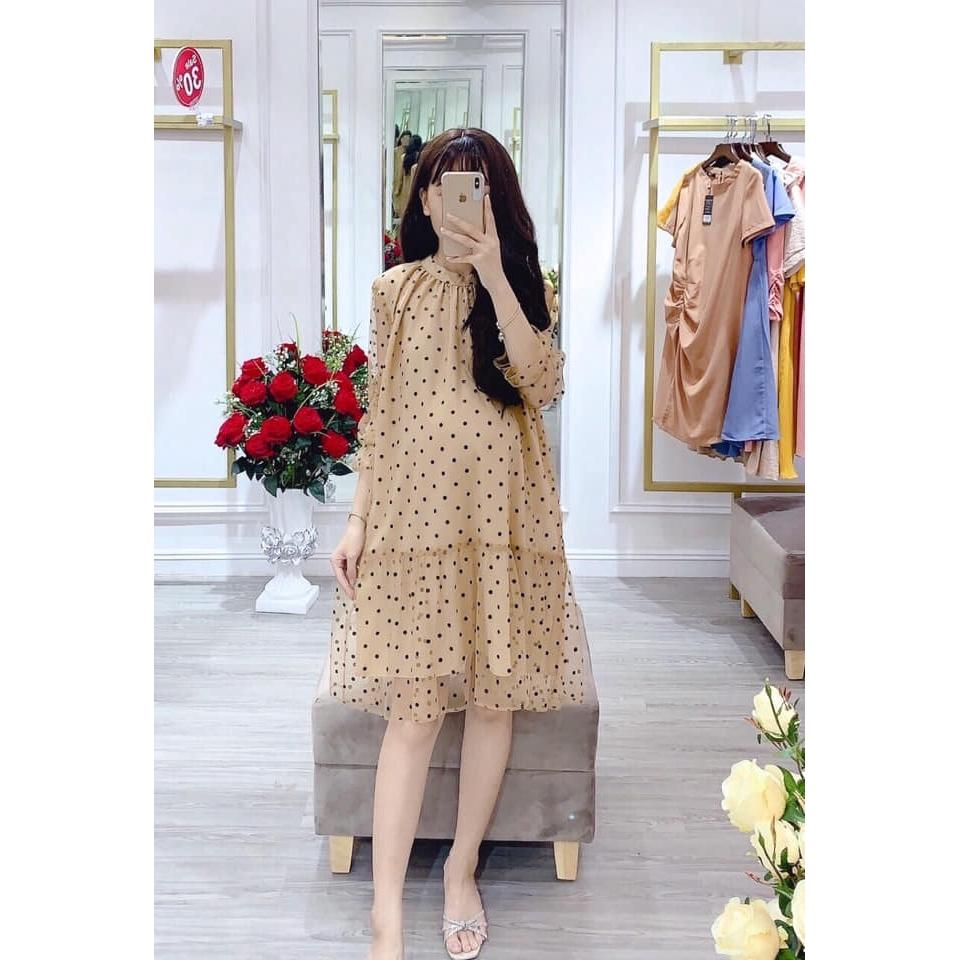 váy suông tầng chấm bi cực dễ mặc ( bầu bí mặc ok thoải mái nha )
