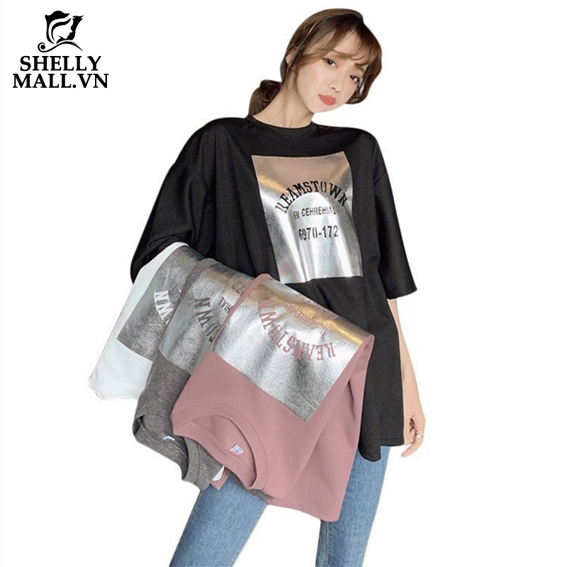 Áo thun nữ ngắn tay dáng rộng phong cách Hàn Quốc cá tính