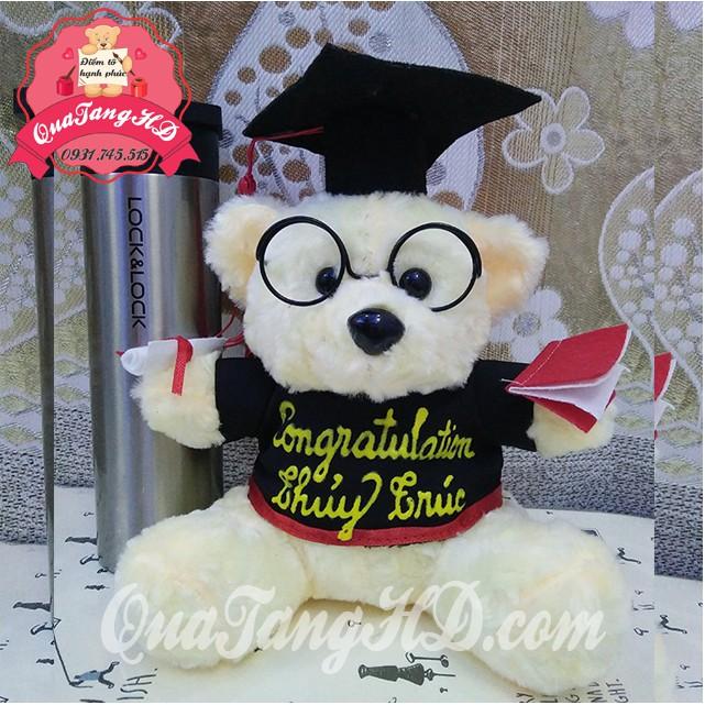 Gấu Bông Tốt Nghiệp 25cm tặng miễn phí khắc tên, logo decal, gói quà - quà tốt nghiệp