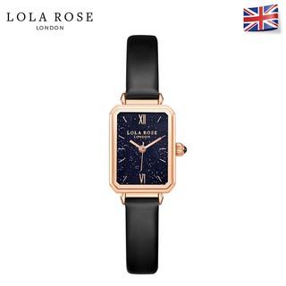 Đồng hồ nữ dây da LolaRose mặt vuông đá Bluestone galaxy cao cấp lấp lánh dễ thương