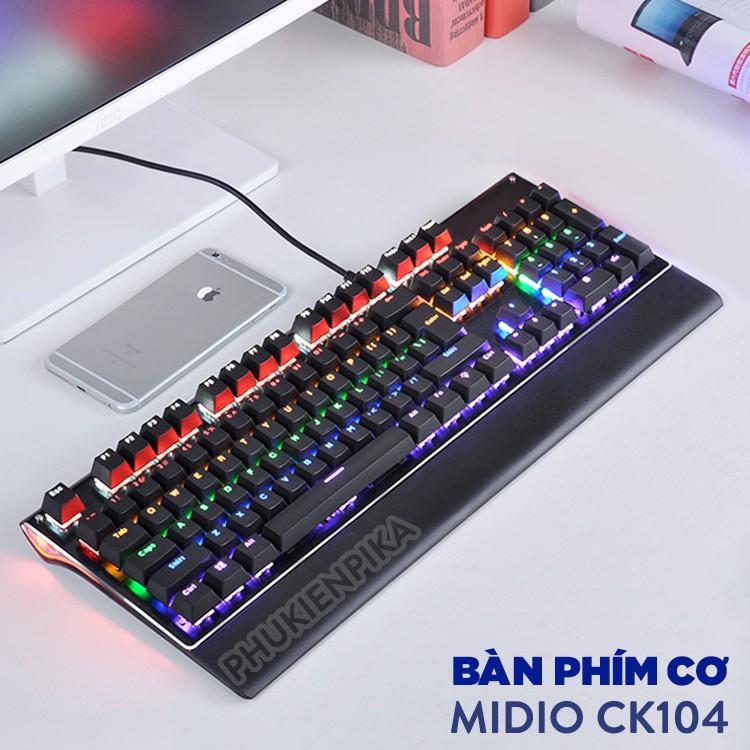 Bàn phím cơ Midio CK104 Game thủ có LED tặng kèm đế lót tay