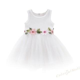Đầm xòe công chúa không tay họa tiết hoa xinh xắn cho bé gái