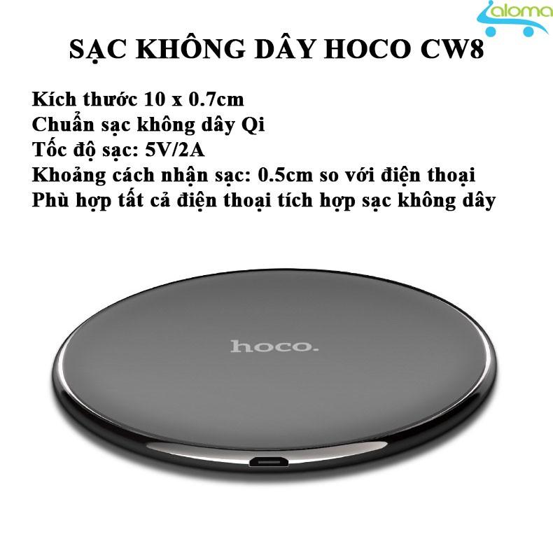 Sạc không dây chuẩn Qi tốc độ 2A HOCO CW6 cho điện thoại