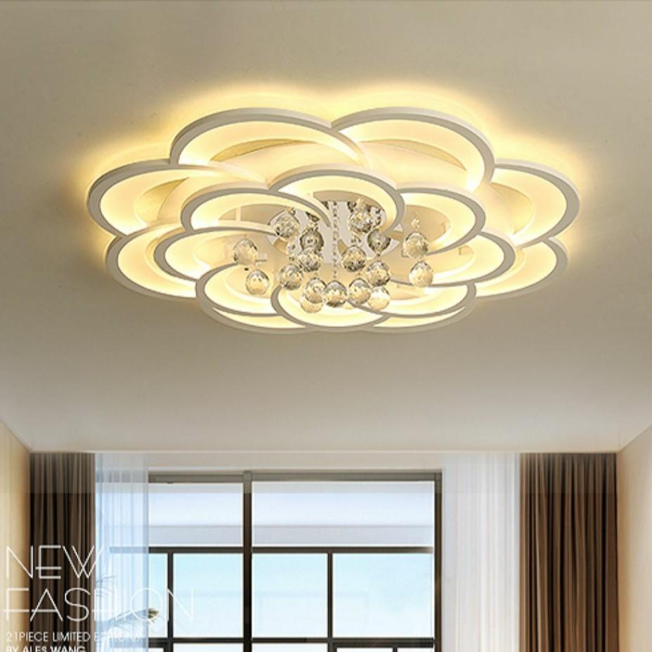 Đèn LED ốp trần A8 Đèn ốp trần nổi trang trí hình hoa pha lê 16 cánh 3 chế độ ánh sáng - Có điều khiển Từ Xa