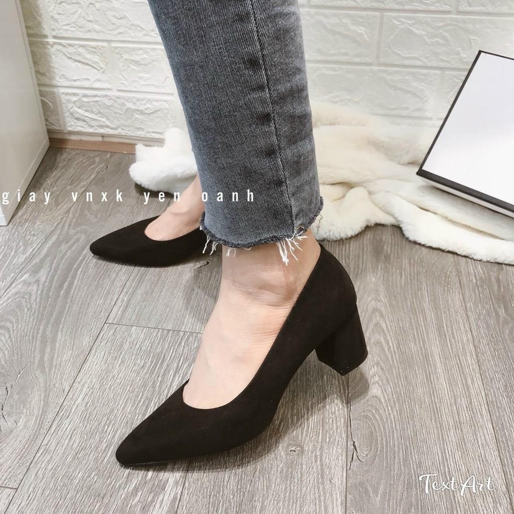 Giày cao gót trơn gót vuông - 5P