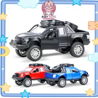 Bộ đồ chơi trẻ em,Ô tô bán tải mô hình đồ chơi,mở cửa, bằng sắt có âm thanh và đèn mở được cửa xe và âm thanh động cơ thumbnail
