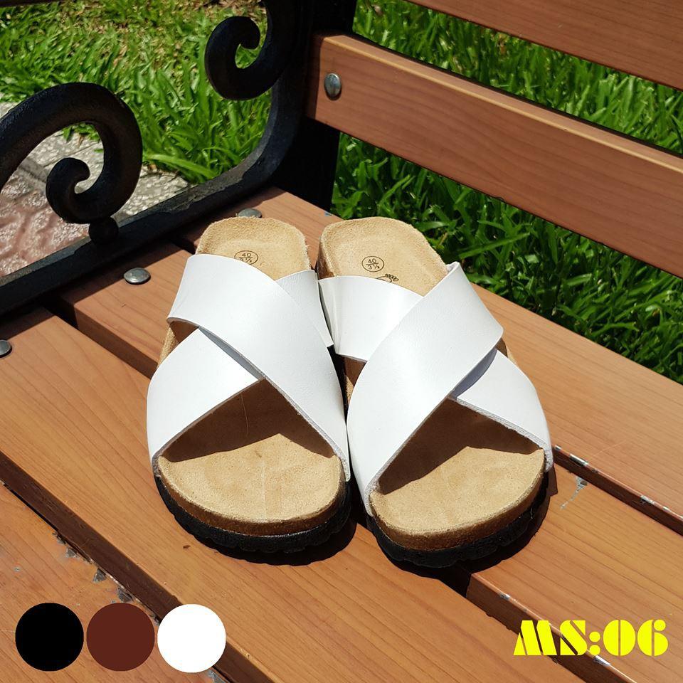 Dép sandal nam nữ quai chéo pu trắng đế trấu unisex