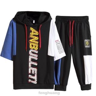 3/4 Trouser Casual Elastic Hooded Letters Print Loose Short Sleeve Sports Street Summer Men T-shirt Set