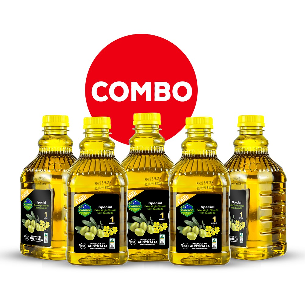 Combo 5 chai 1 lít dầu ăn Oliu hạt cải Kankoo chuyên món chiên, xào, rán, trộn salad, món ăn dặm cho bé cực tốt và ngon
