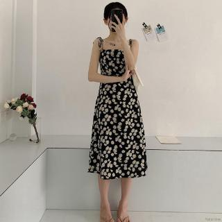 Fansmore Fashion Women Retro Daisy Floral Sleeveless Strapless Dress Sweet Strapless Dress