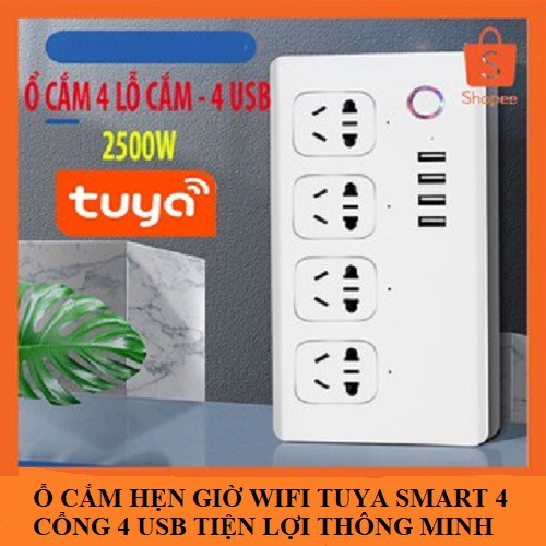 Ổ cắm Wifi Tuya SmartLife 4 cổng độc lập 4 usb điều khiển từ xa qua phần mềm trên điện thoại và giọng nói