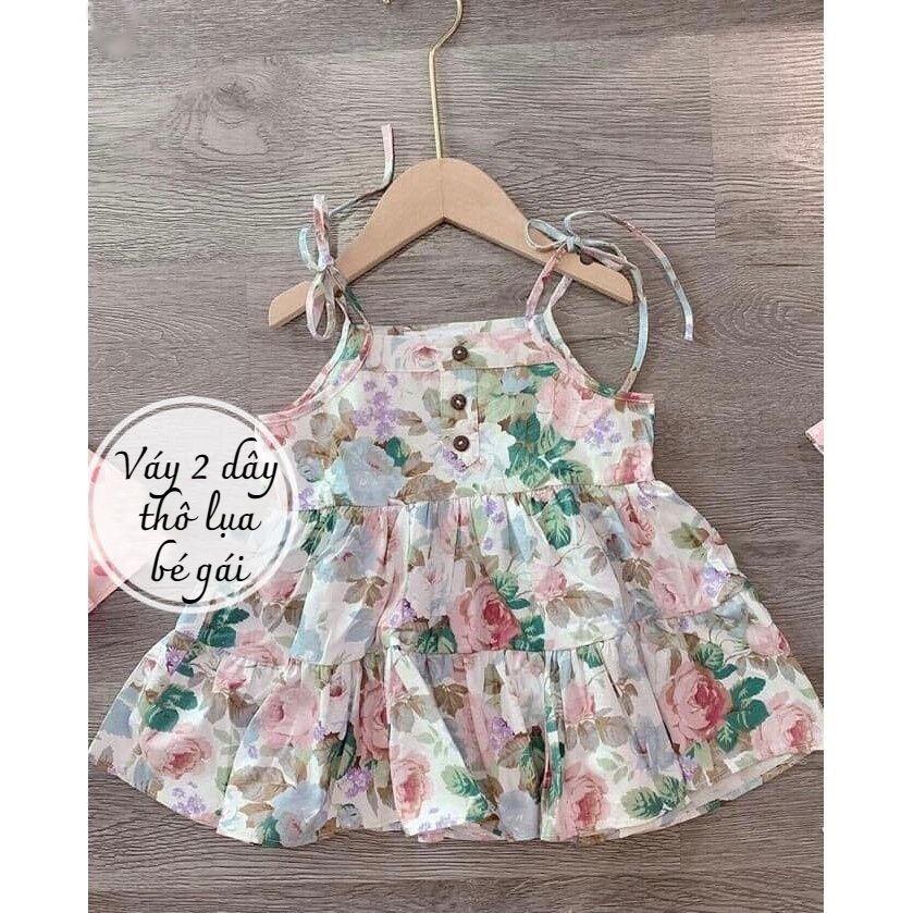 Váy cúc buộc vai QATE577 cho bé gái