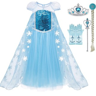 Đầm Elsa + Vương Miện + Đũa Phép cho bé. Váy Đầm Công Chúa Élsa băng Giá
