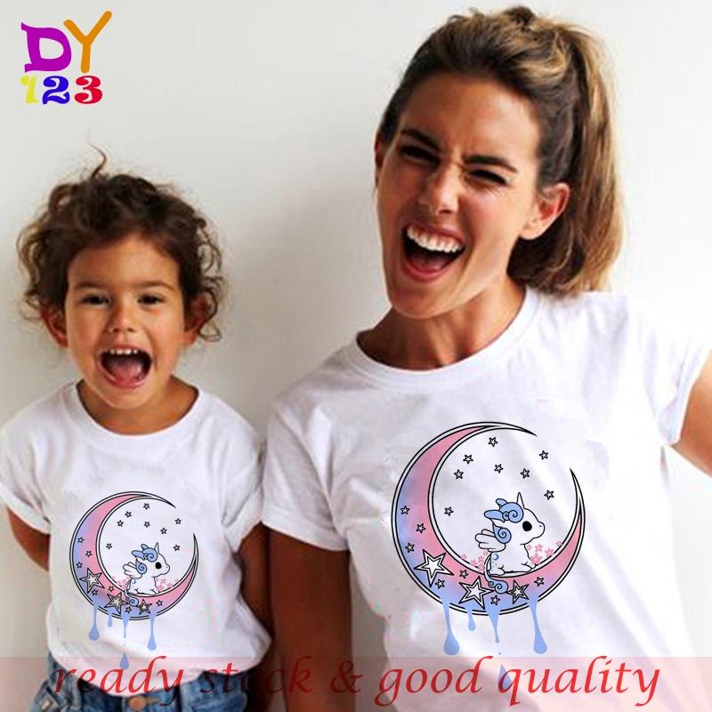 unicorn  Shirt Fashion Cotton tshirt áo thun nữ 2020 girls Bé gái clothes Thời Trang Trẻ Em Adult T-shirt