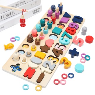 Đồ chơi cột tính giáo cụ Montessori, thông minh toán học, hình khối, tích hợp câu cá