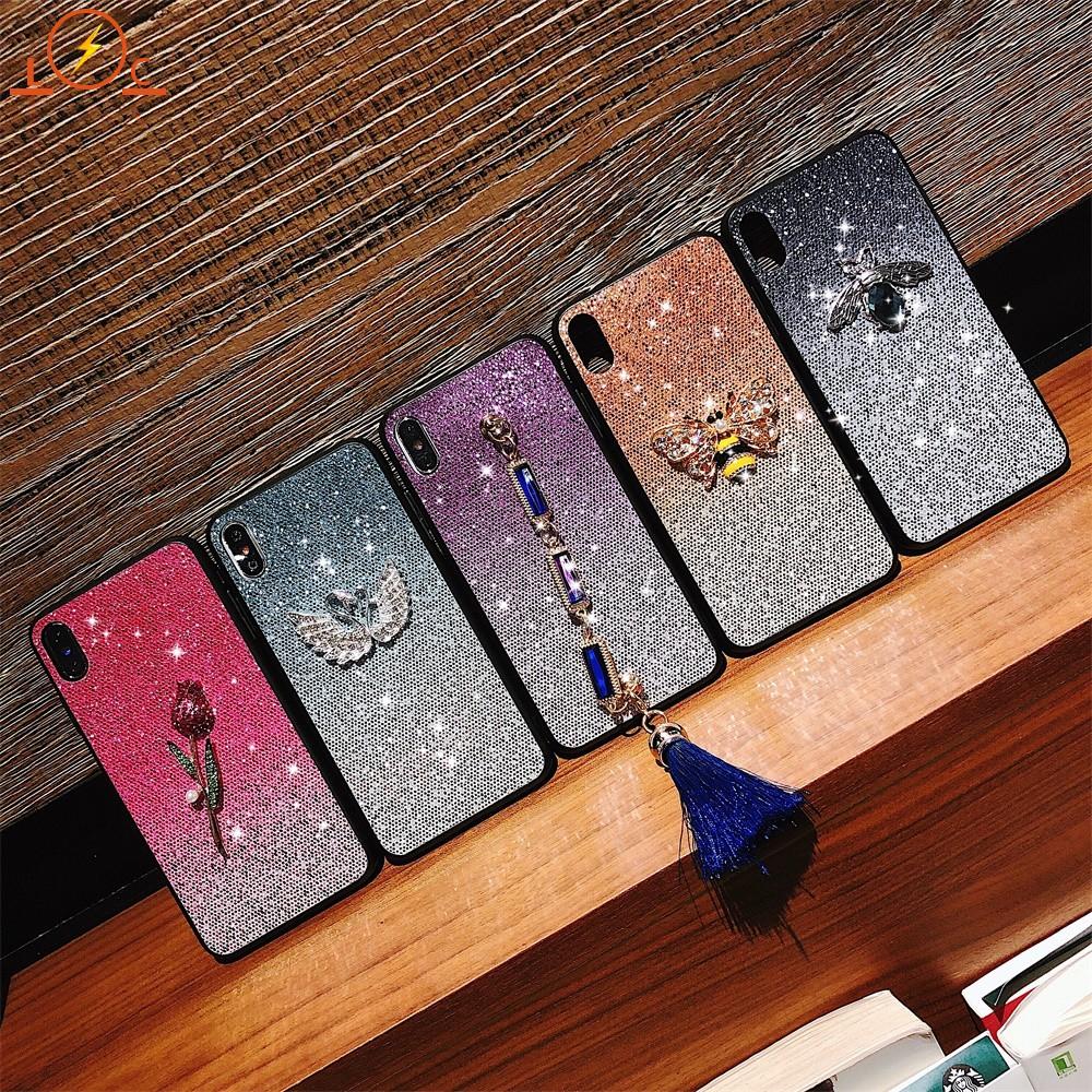 Ốp điện thoại PC cứng trang trí đính kim tuyến và đá lấp lánh cho Vivo Y93 Y95(Y91) Y97
