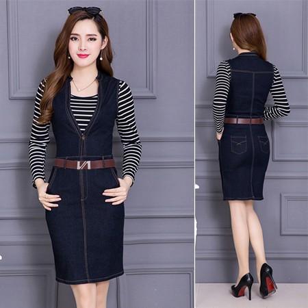 ️ Đồ Đẹp Giá Rẻ ️ ️ Đầm jean kèm áo thun sọc dài tay - LV1374DTT022