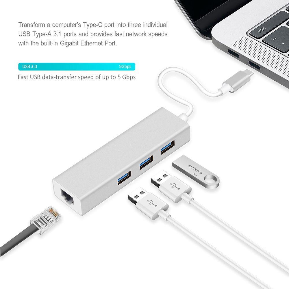 Bộ Chuyển Đổi Hub Usb C 3.0 Port Gigabit Ethernet Lan Card Cho Macbook Pro Pc Laptop