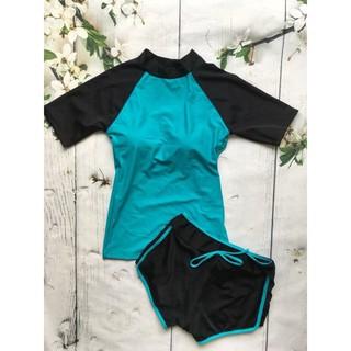 Bikini hai mảnh áo cộc tay đen xanh ngọc đẹp kín d