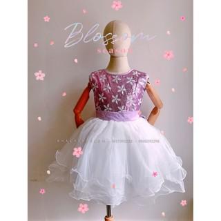 Đầm sát nách công chúa cao cấp, dạ hội, dự tiệc, bé gái 5 lớp voan kết ren phối lưới đính kim sa lấp lánh màu trắng tím