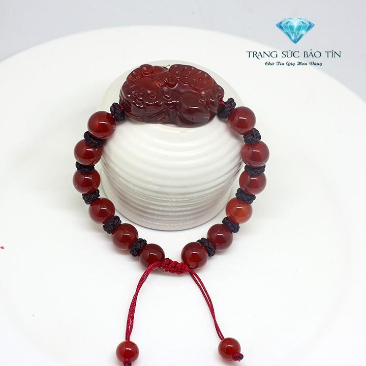 Vòng Tay Phong Thủy Tỳ Hưu Đỏ Dây Vải - Bảo Tín