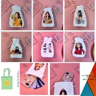 Túi vải canvas dây rút mini, đựng đồ dùng cá nhân tiện lợi, chống thấm nước, chống bụi, giữ đồ sạch sẽ thumbnail
