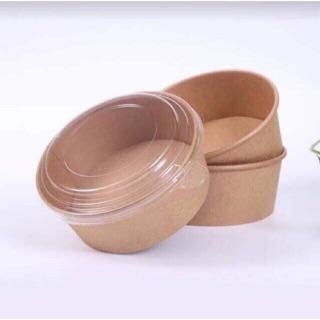 Set 50 hộp giấy tròn kraft đựng thức ăn kèm nắp nhựa thumbnail