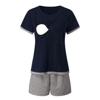 Maternity Nursing T-Shirt Top+Shorts Set Maternity Mom Short Sleeve Pyjama Set Maternity Pajama Sleep Pant S