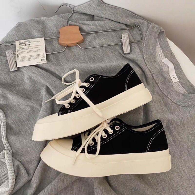 Giày thể thao nữ vải dáng basic, Giầy bánh mì kiểu vintage, Giày Sneakers Nữ vải Basic Cổ Thấp