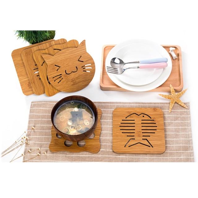 Lót ly tô chén nồi ... bằng gổ trang trí bàn ăn sang trọng kt 15x15cm