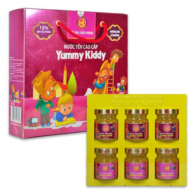 Hộp 6 hũ nước Yến Thiên Hoàng Yummy Kid 15% yến tổ cho bé (6 lọ x
