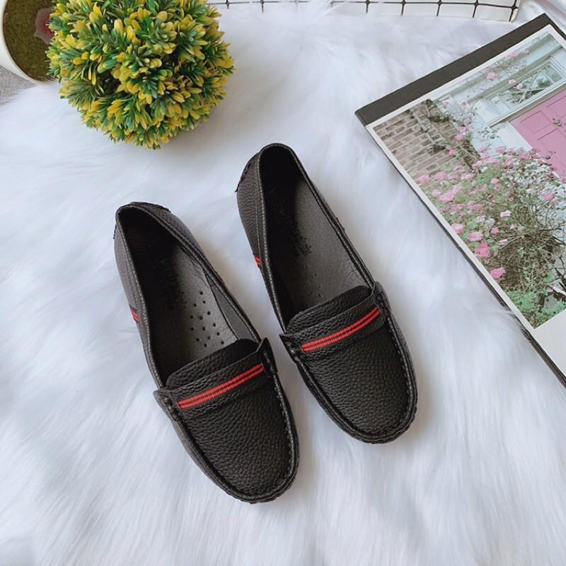 [Hàng mới về chất đẹp] Giày moca nữ phối kẻ da sần mềm đế hột siêu đẹp -phom nhò