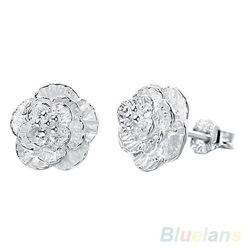 Đôi bông tai hình bông hoa đính kim cương thời trang cho nữ