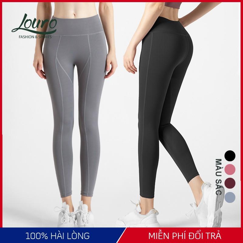 Quần tập gym, yoga nữ Louro, kiểu quần legging cạp cao định hình, thiết kế nâng mông, gen bụng, vải thể thao - QL109