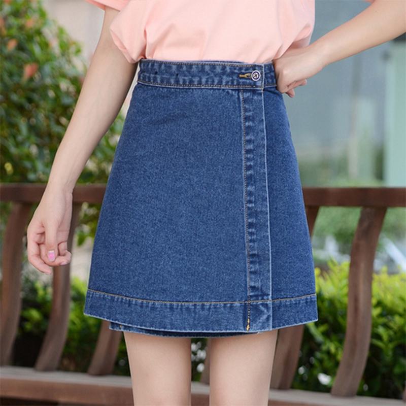 Chân váy chữ A bằng vải jeans phong cách Hàn Quốc cho nữ