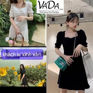 Đầm xoè cổ nhún, tay ngắn bo, so dễ thương kiểu dáng mới 2021 - Thời trang VADA -V449 thumbnail