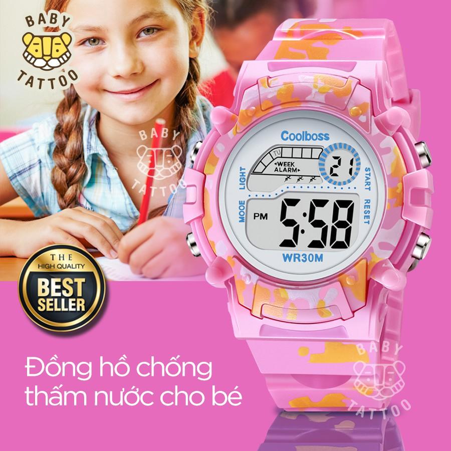 BABY TATTOO Đồng hồ thể thao cho Bé Đồng hồ bé trai và bé gái không thấm nước và có đèn dạ quang Đồng hồ điện tử trẻ tiể