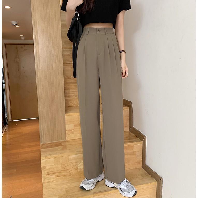 Mặc gì đẹp: Sang trọng với Quần Tây nữ Lưng cao Dáng suông Form rộng Ống đứng Màu trơn Ulzzang Hàn Quốc Quần Tây nữ Công sở Cạp cao