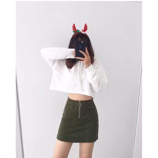 Áo nón croptop cá tính trơn màu 11424-2