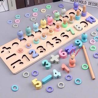 [Bộ xếp số + câu cá + học Toán Montessori mẫu mới