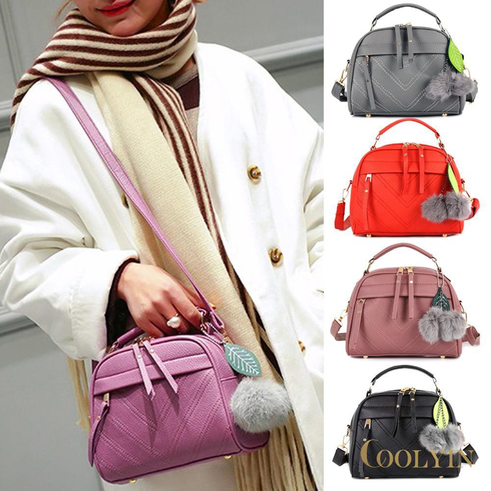 🍑Solid Color Leaf Hair Ball Pendant Shoulder Women Bags