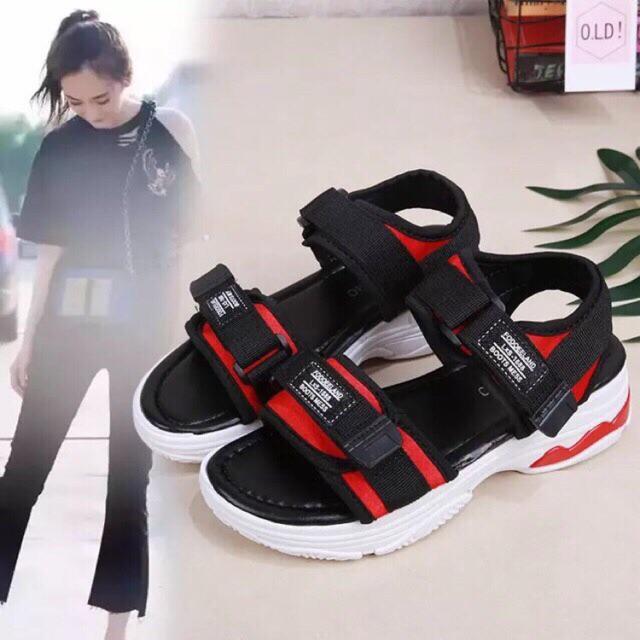 Giày sandal I Dép quai hậu đi học phong cách trẻ trung gót phối đỏ nổi bất đế cực êm đi siêu bền